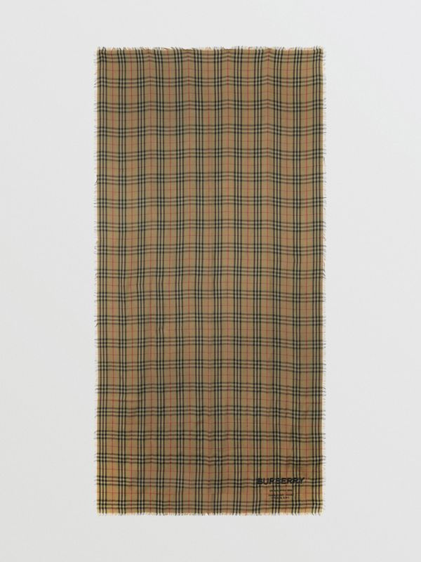 Embroidered Vintage Check Lightweight Cashmere Scarf in Olive Green | Burberry Hong Kong - cell image 3