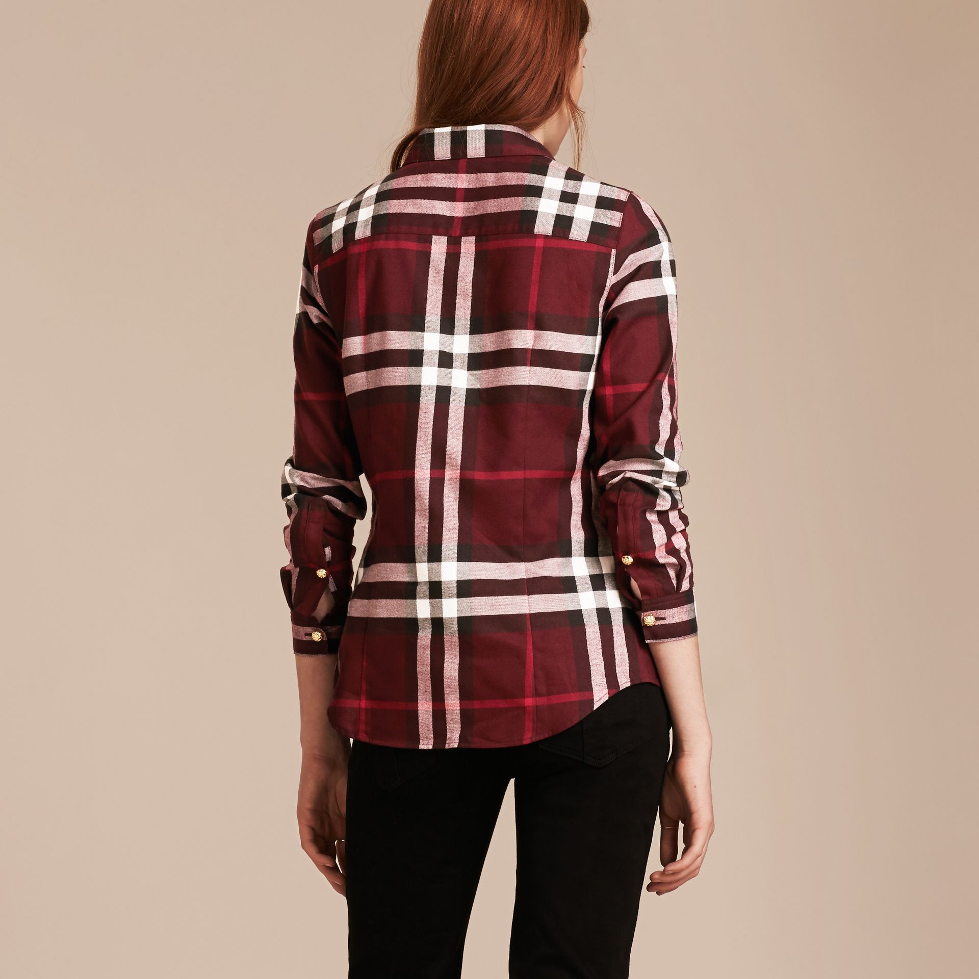 Claret Fitted Cotton Flannel Military Check Shirt - gallery image 3