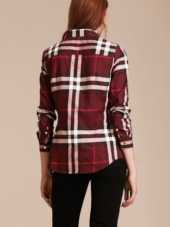 Claret Fitted Cotton Flannel Military Check Shirt - cell image 2