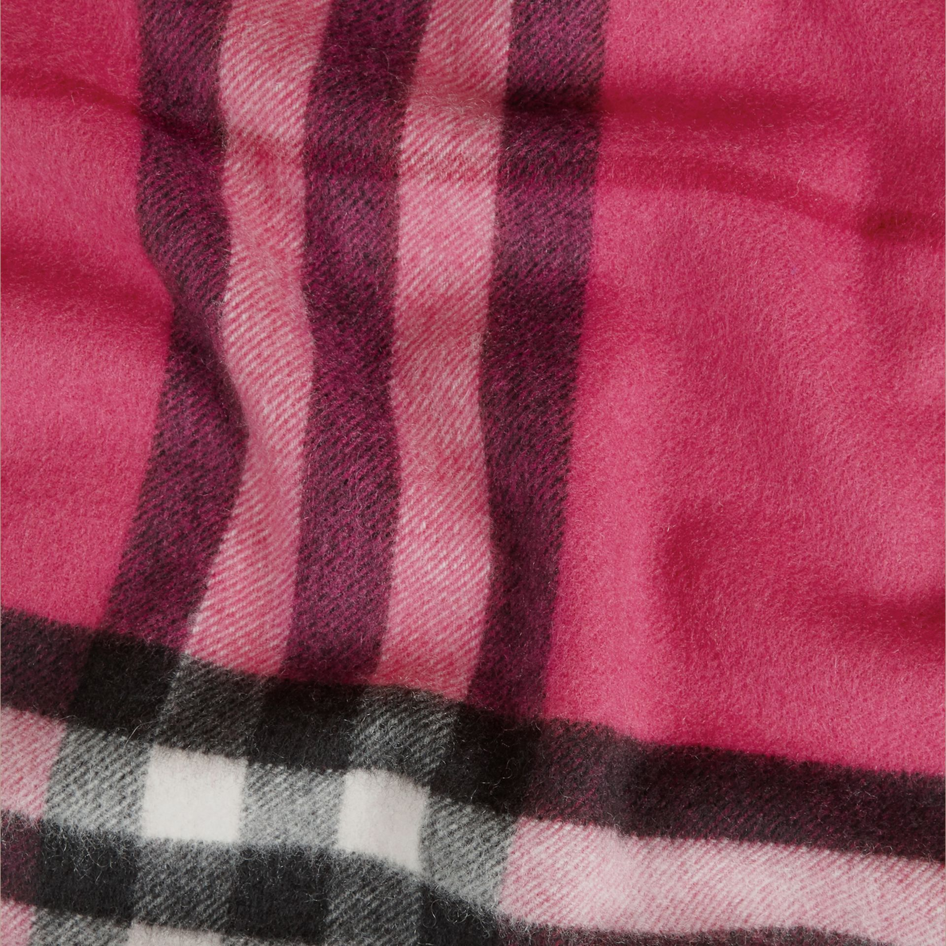 The Classic Cashmere Scarf in Check in Fuchsia Pink - gallery image 5