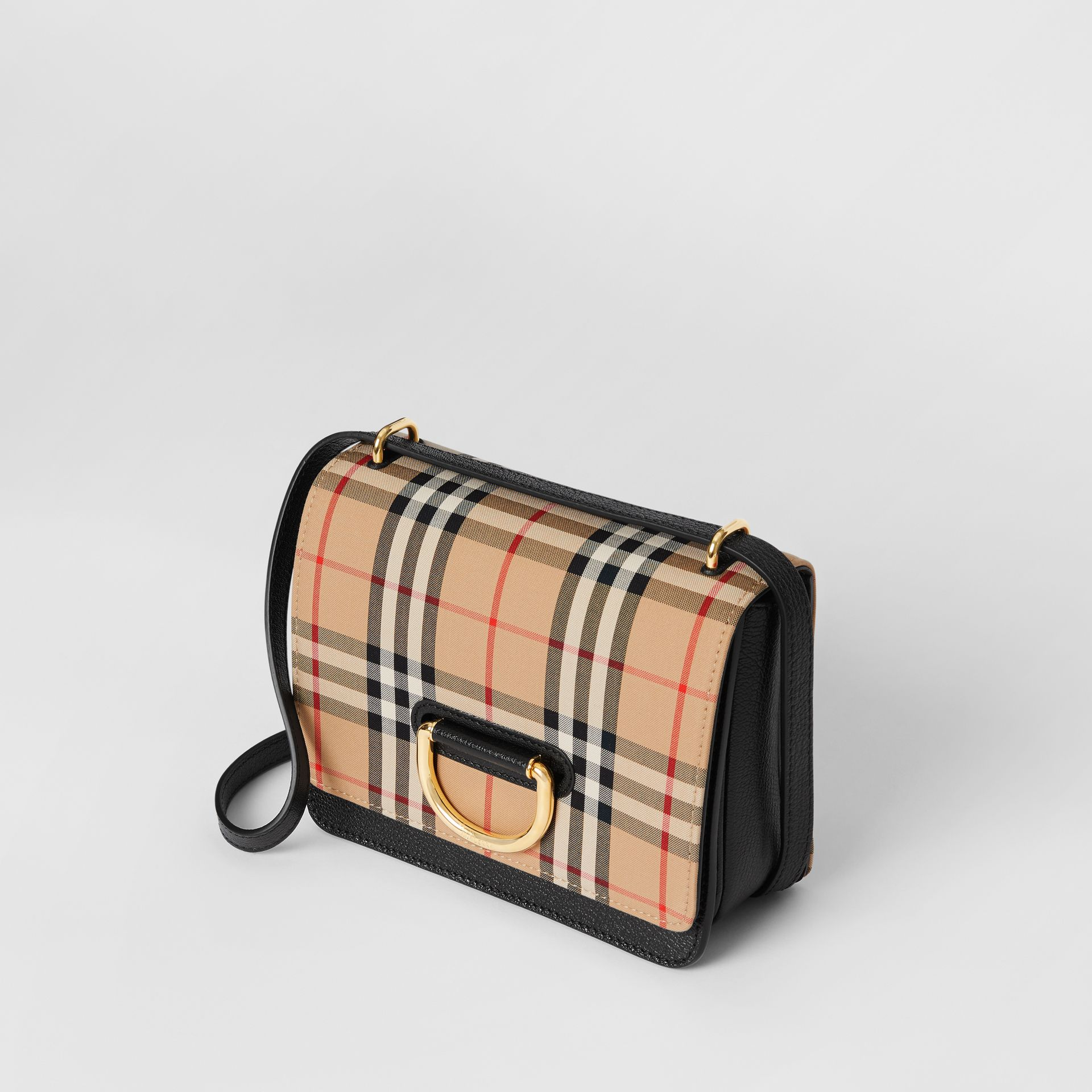 The Small Vintage Check and Leather D-ring Bag in Black - Women | Burberry United States - gallery image 4