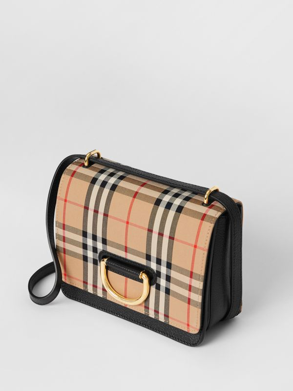 The Small Vintage Check and Leather D-ring Bag in Black - Women | Burberry - cell image 3