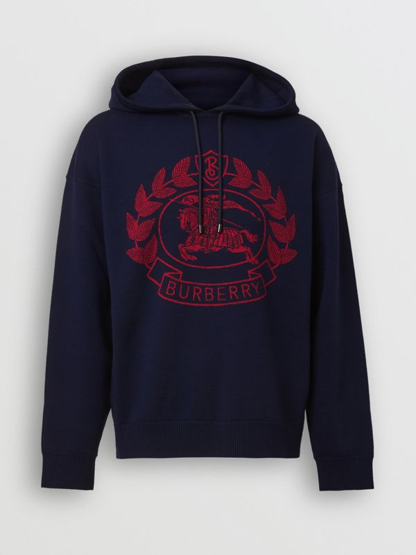 Crest Merino Wool Blend Jacquard Hoodie in Navy - Men | Burberry - cell image 3