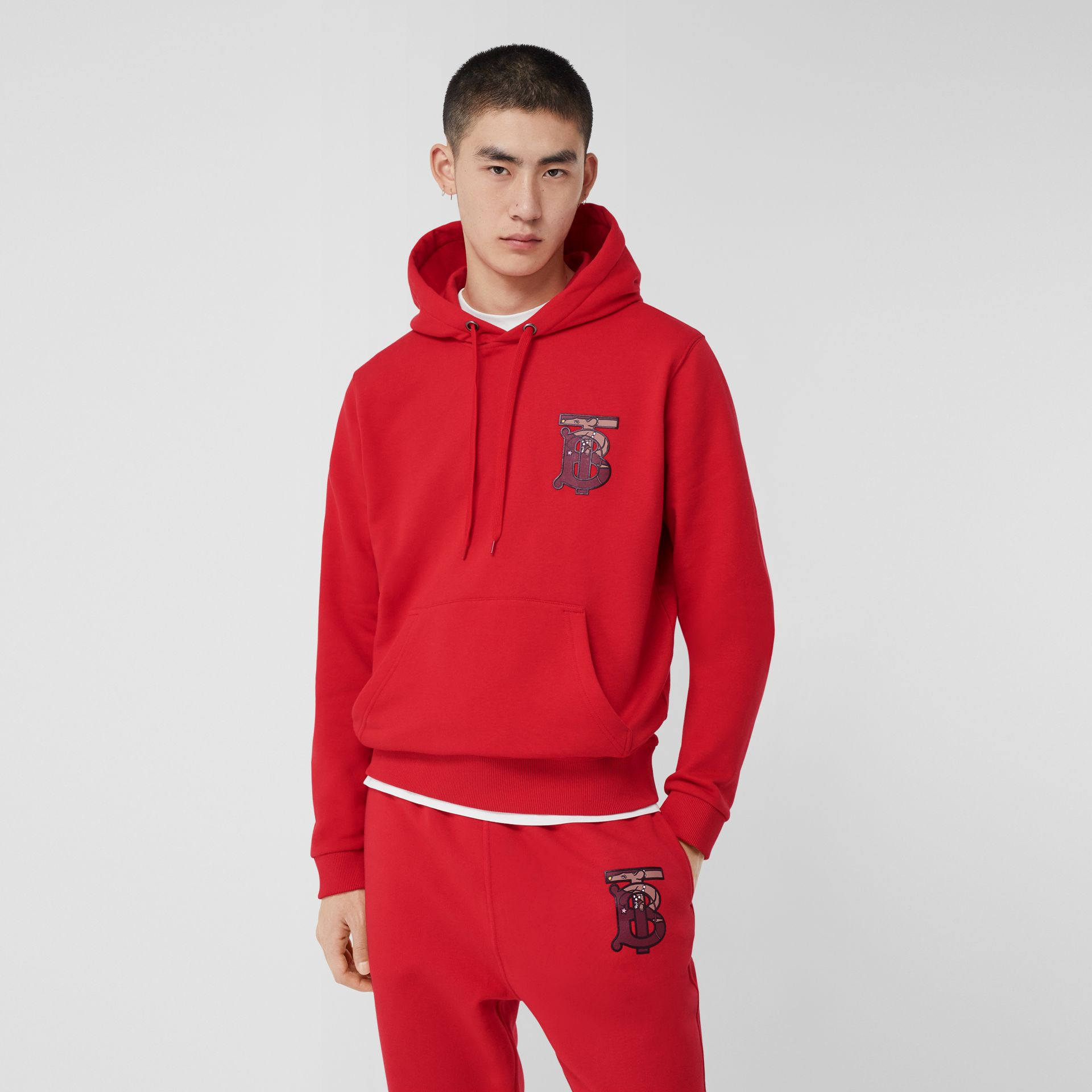 Monogram Motif Cotton Oversized Hoodie in Bright Red - Men | Burberry United Kingdom - gallery image 3