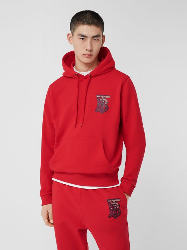Monogram Motif Cotton Oversized Hoodie in Bright Red - Men | Burberry United Kingdom - cell image 3