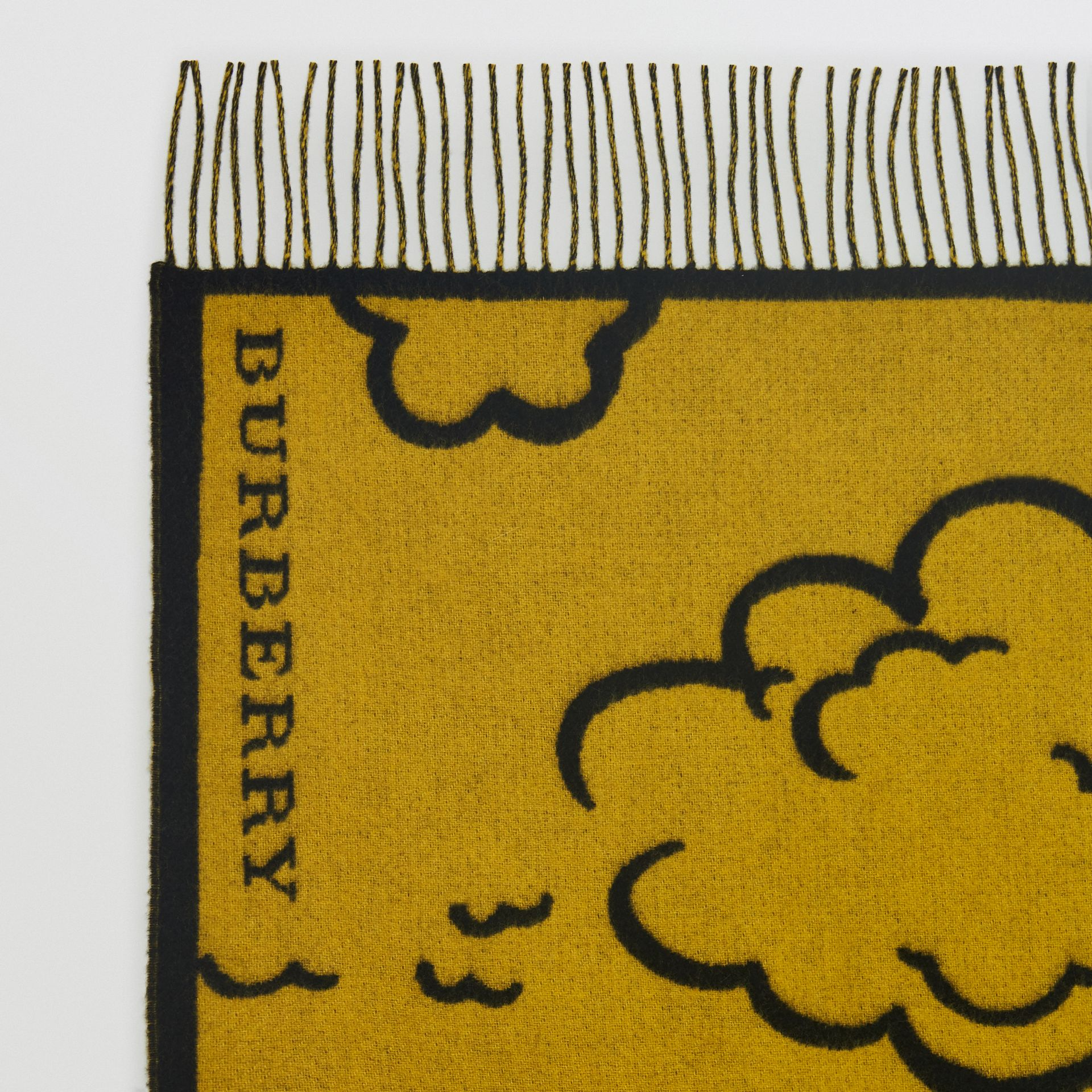 London Street Art Wool Cashmere Jacquard Scarf in Larch Yellow | Burberry - gallery image 1