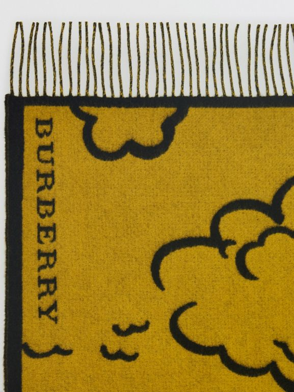 London Street Art Wool Cashmere Jacquard Scarf in Larch Yellow | Burberry United States - cell image 1