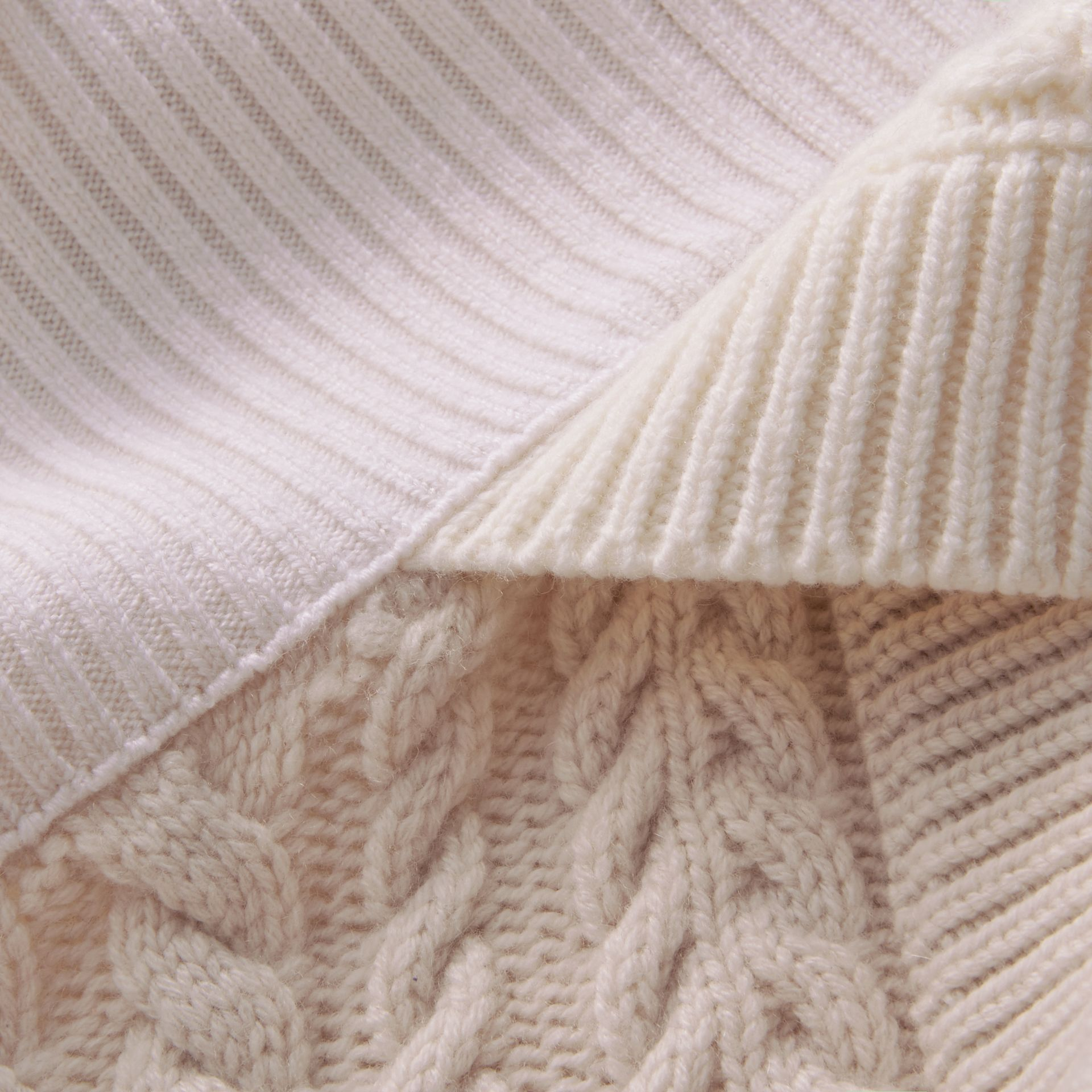 Shearling Collar Knitted Wool Cashmere Jacket in Natural White - Women | Burberry - gallery image 2