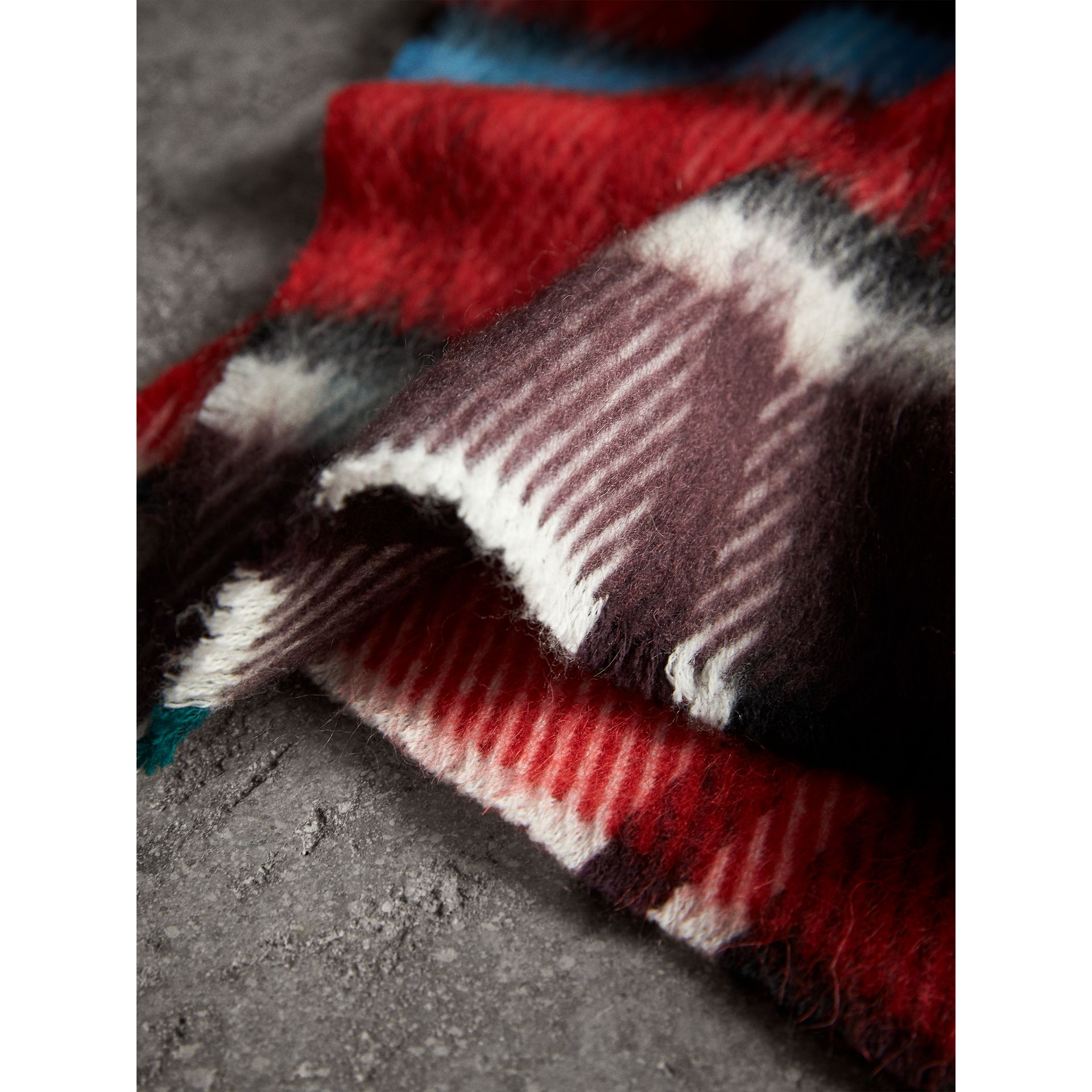 Long Check Wool Mohair Blend Scarf in Red | Burberry - gallery image 1