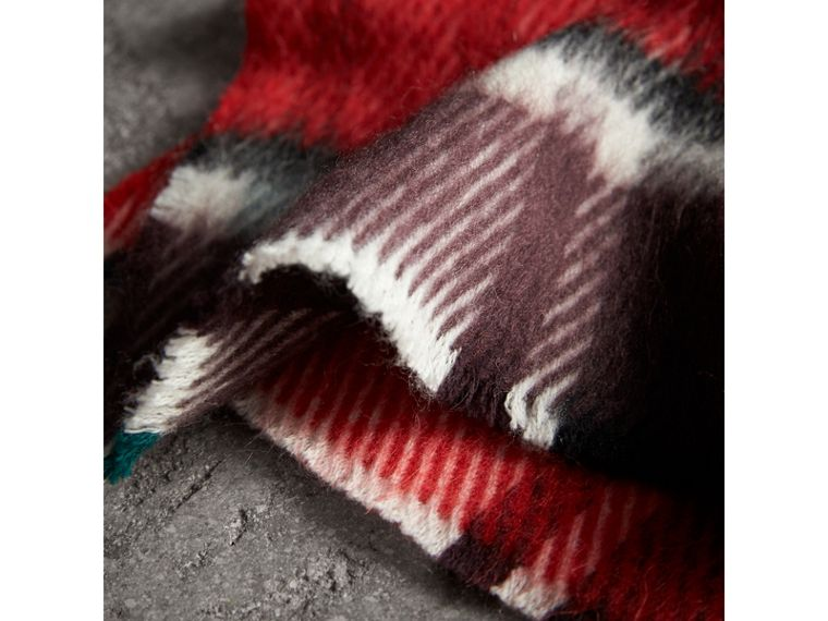 Long Check Wool Mohair Blend Scarf in Red | Burberry - cell image 1