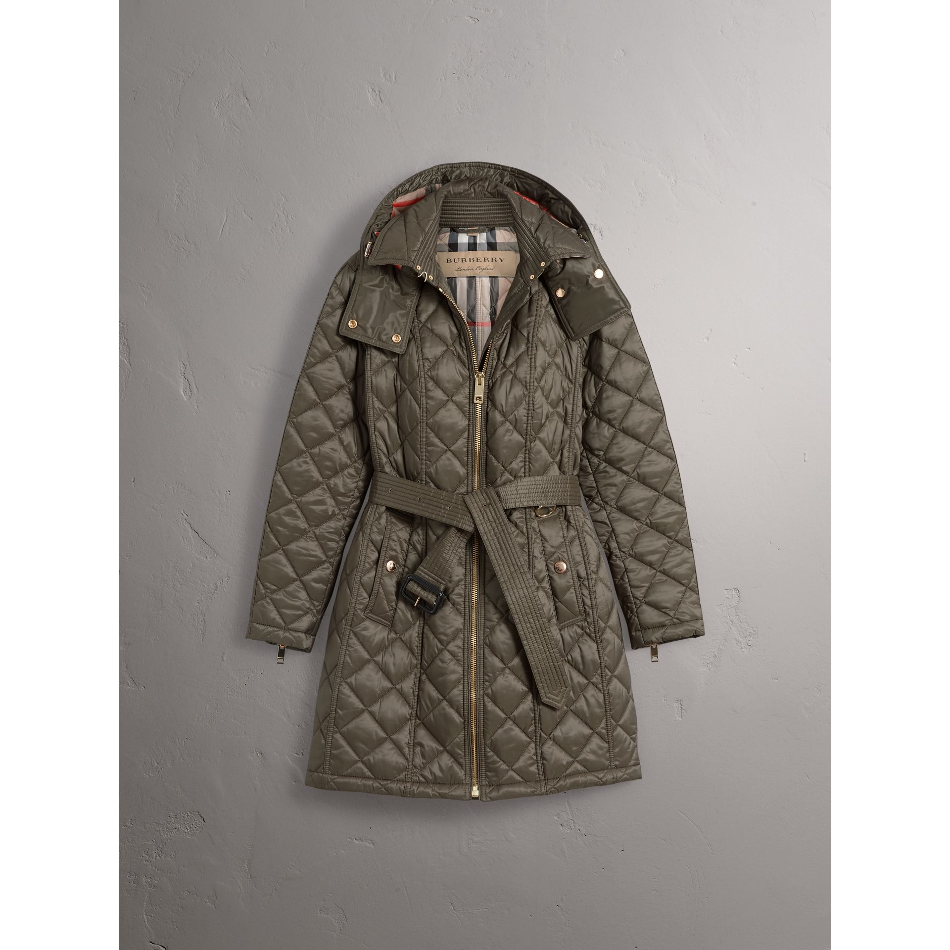 Detachable Hood Quilted Showerproof Parka in Mink Grey - Women | Burberry - gallery image 4
