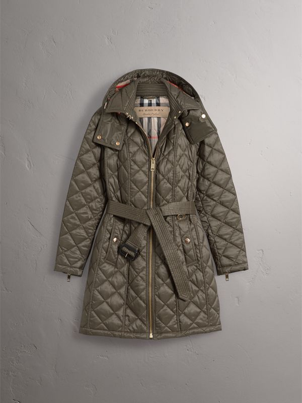 Detachable Hood Quilted Showerproof Parka in Mink Grey - Women   Burberry - cell image 3