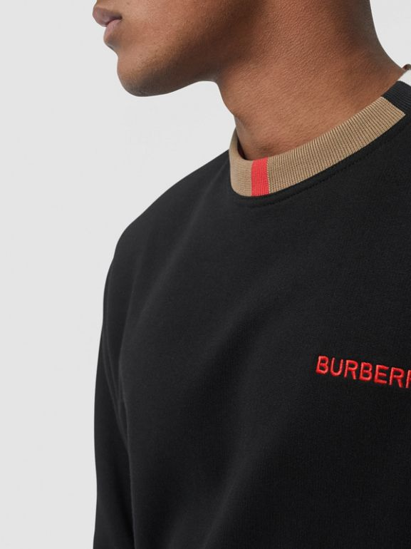 Icon Stripe Detail Cotton Sweatshirt in Black - Men | Burberry United Kingdom - cell image 1