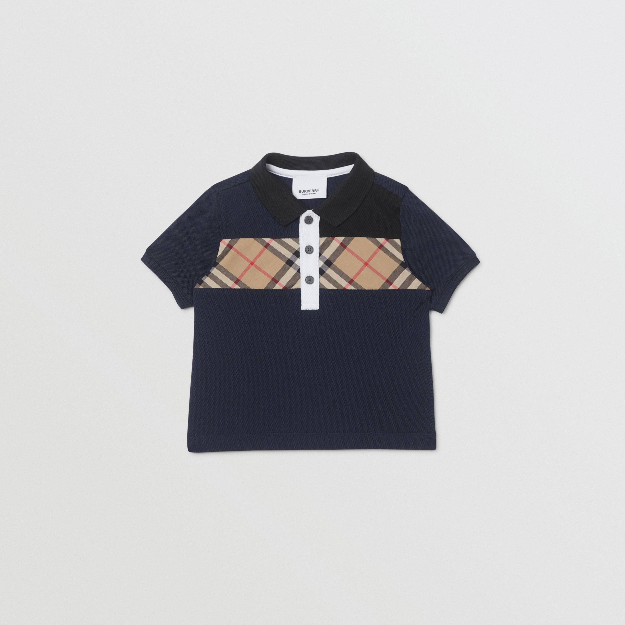 Vintage Check Panel Cotton Polo Shirt in Navy - Children | Burberry - 1