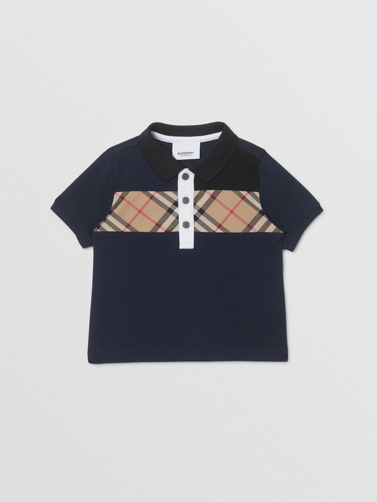 Vintage Check Panel Cotton Polo Shirt (Navy)