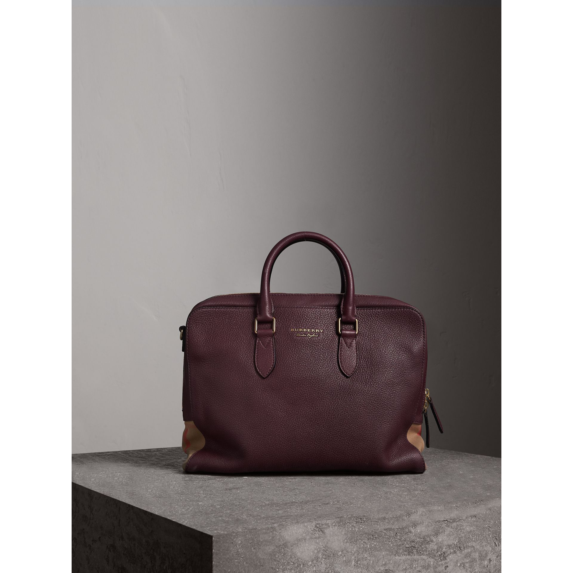 Leather and House Check Briefcase in Wine - Men | Burberry - gallery image 7