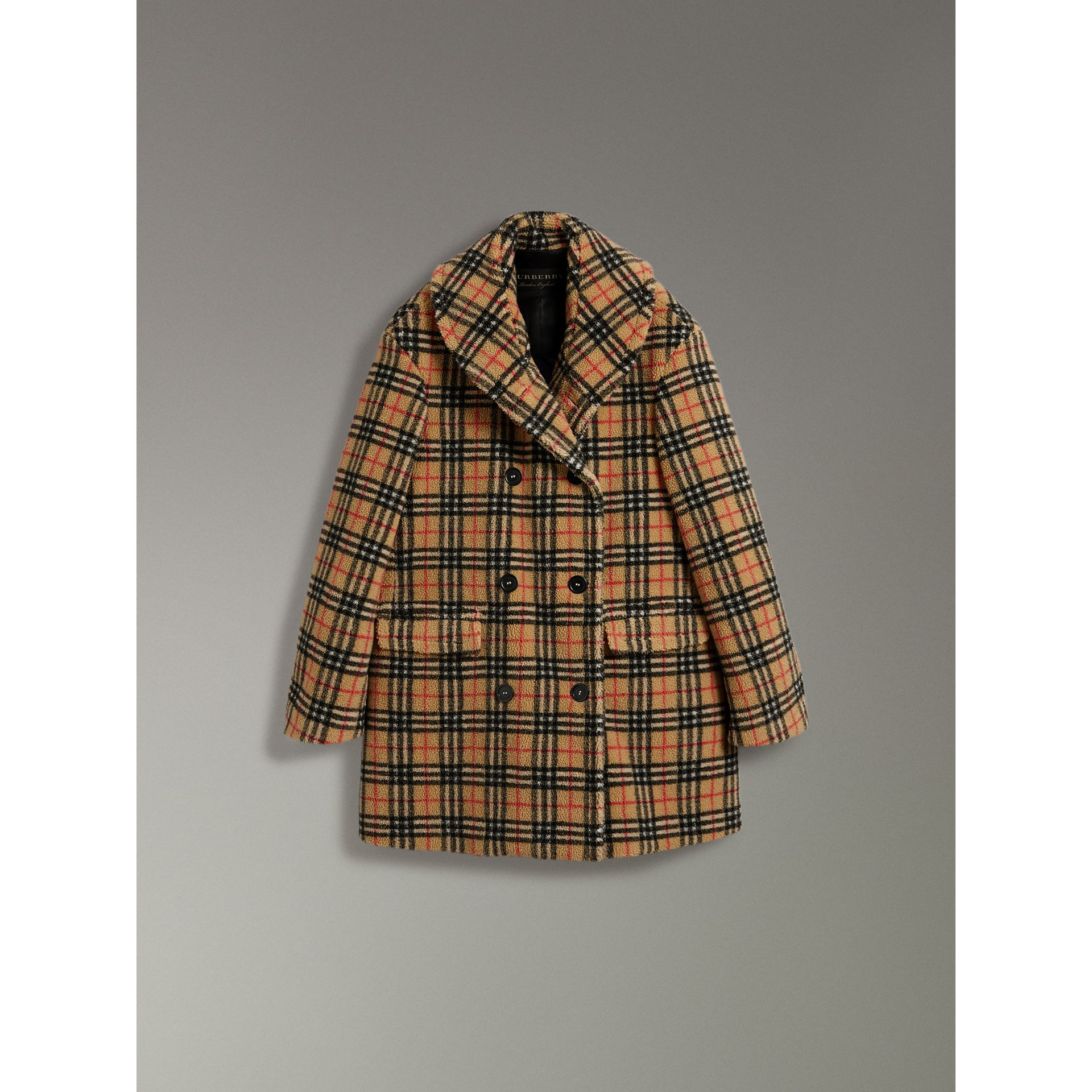 Vintage Check Faux Shearling Coat in Antique Yellow - Women | Burberry - gallery image 3