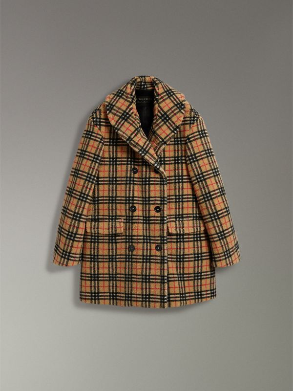 Vintage Check Faux Shearling Coat in Antique Yellow - Women | Burberry - cell image 3