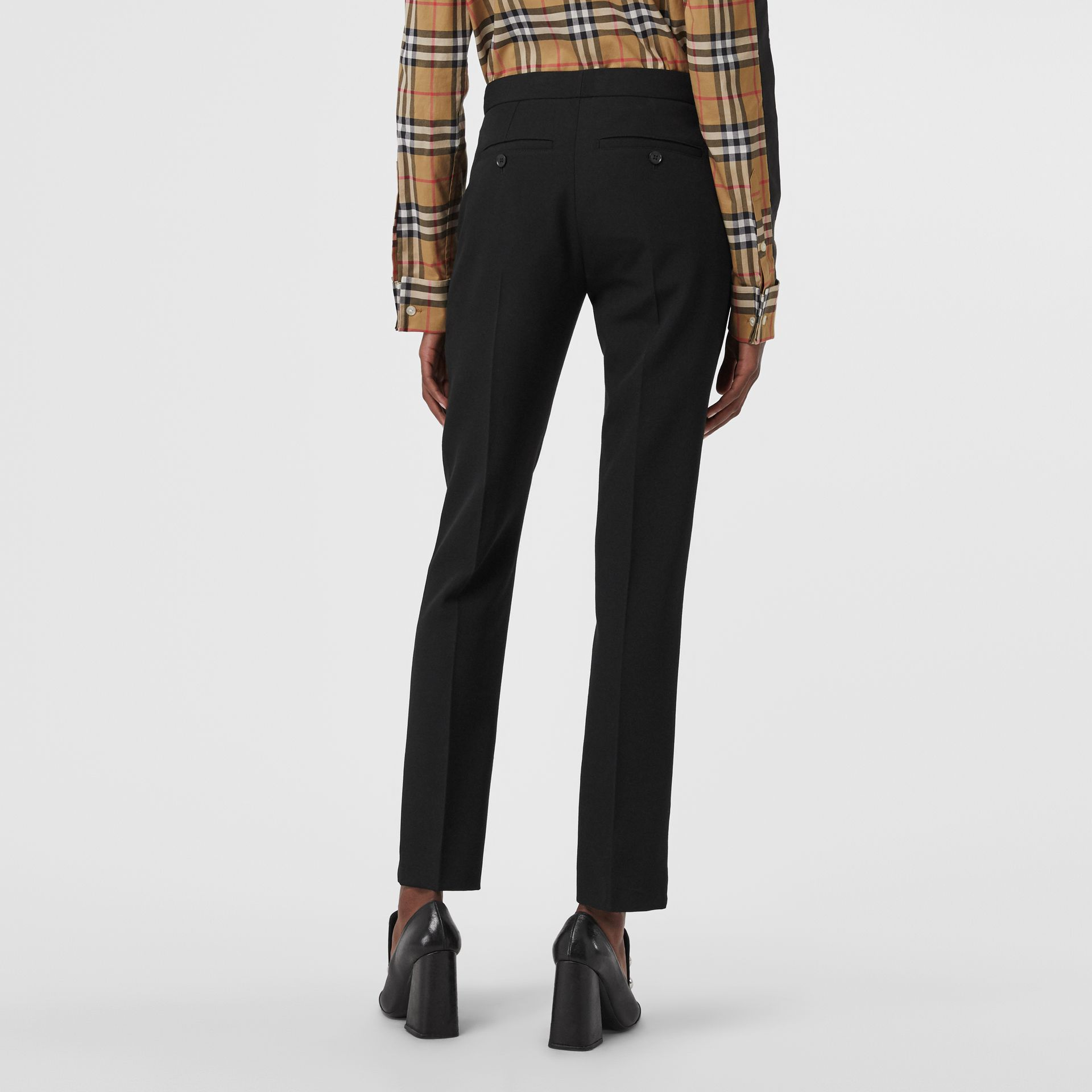 Straight Fit Wool Tailored Trousers in Black - Women | Burberry United Kingdom - gallery image 2