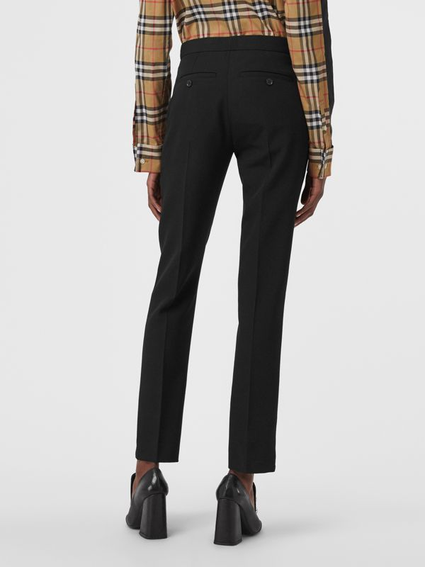Straight Fit Wool Tailored Trousers in Black - Women | Burberry Hong Kong - cell image 2