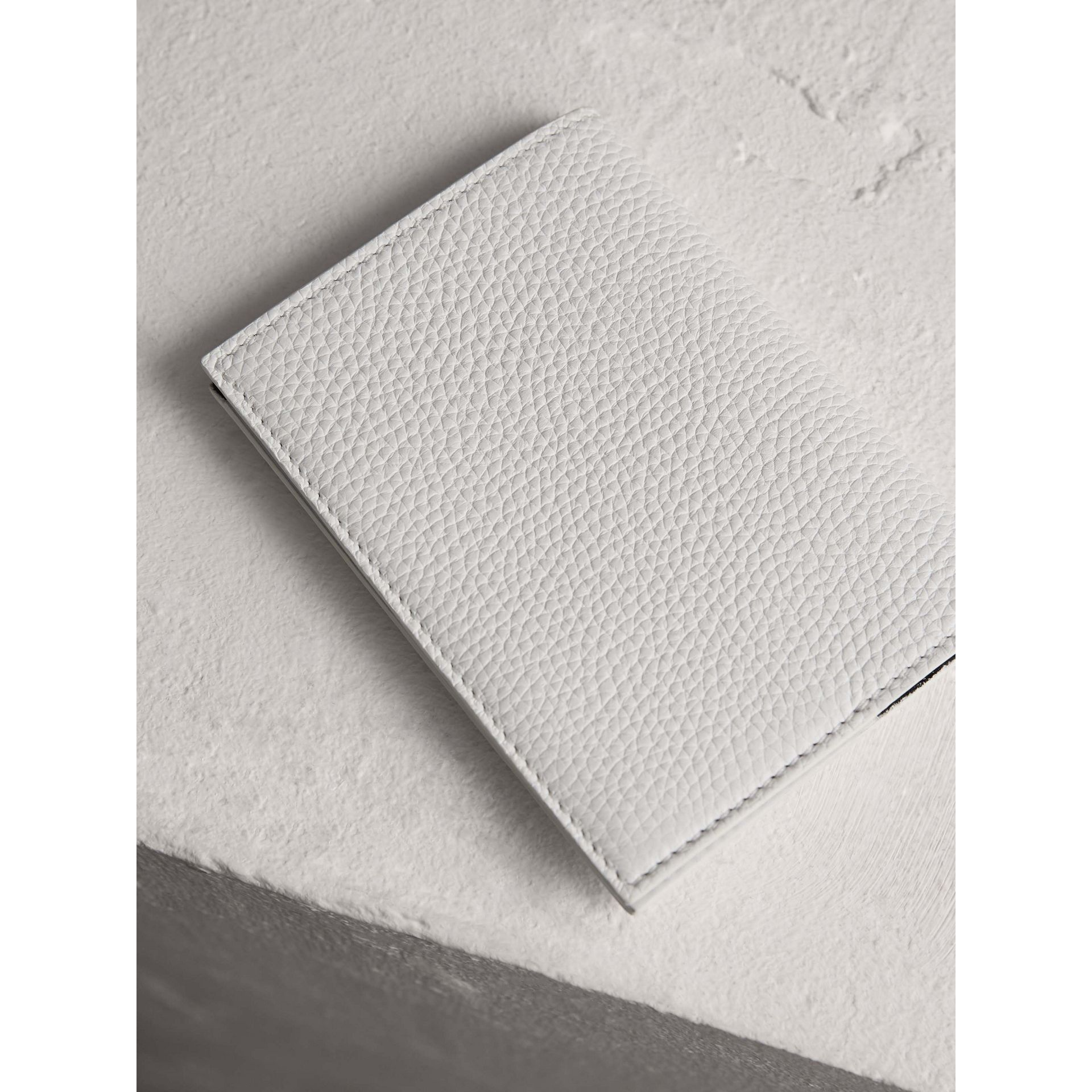 Embossed Leather Passport Holder in Chalk White | Burberry - gallery image 2