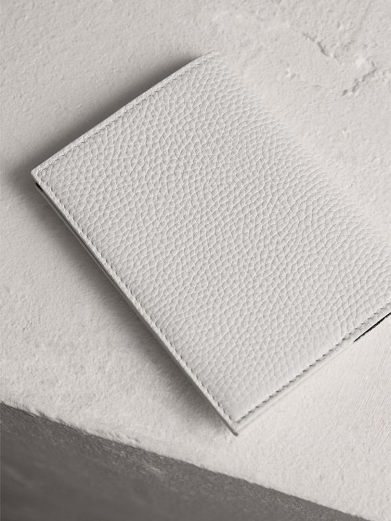 Embossed Leather Passport Holder in Chalk White | Burberry - cell image 2