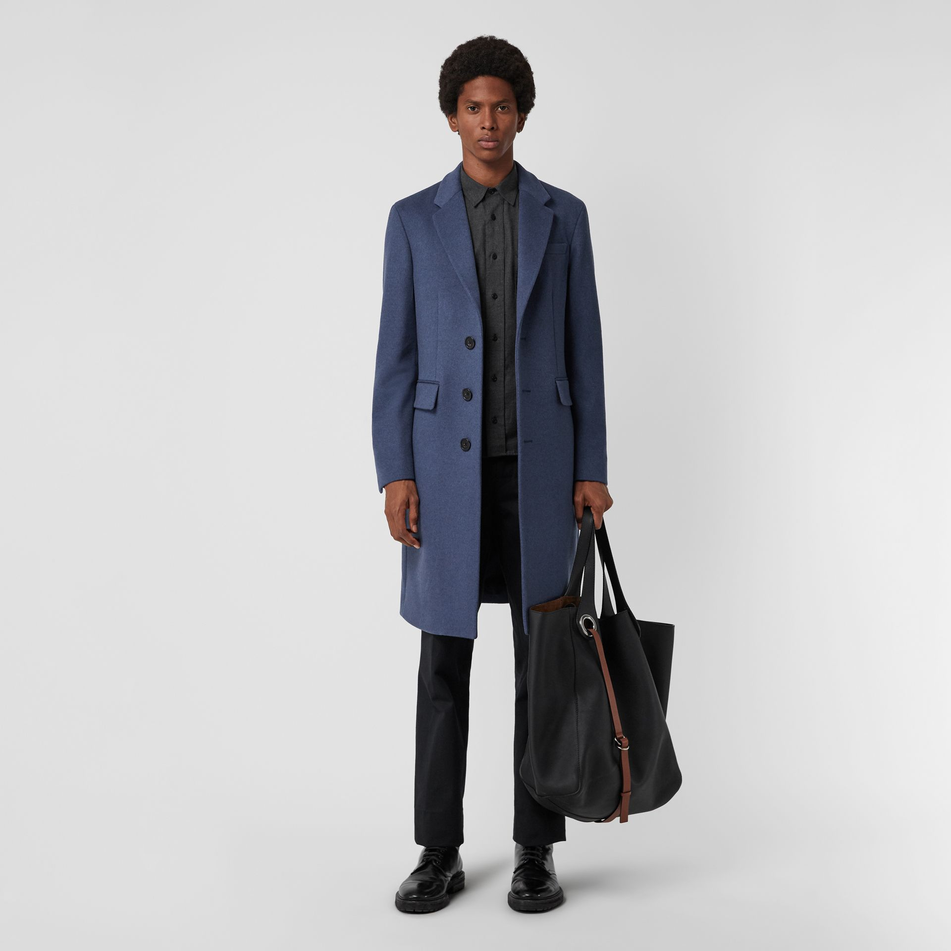 Wool Cashmere Tailored Coat in Dark Canvas Blue - Men | Burberry United Kingdom - gallery image 0