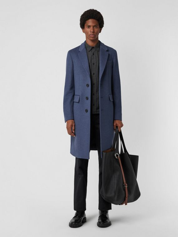 Wool Cashmere Tailored Coat in Dark Canvas Blue