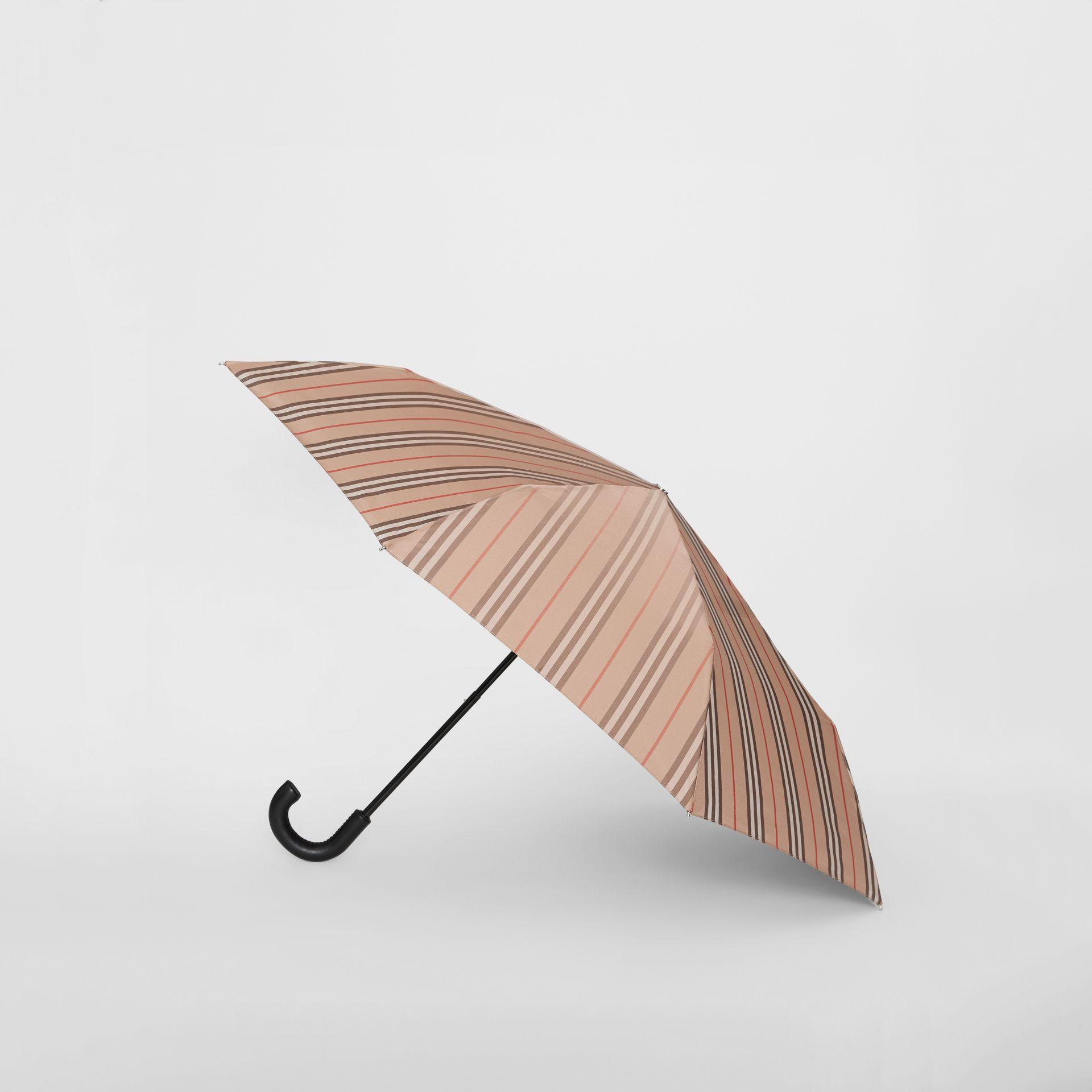 Icon Stripe Folding Umbrella in Camel | Burberry - gallery image 3