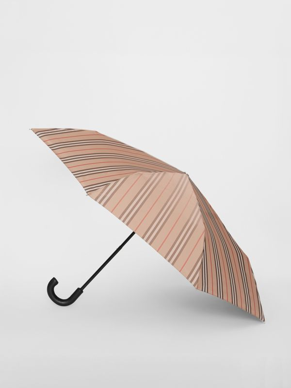 Icon Stripe Folding Umbrella in Camel | Burberry - cell image 3