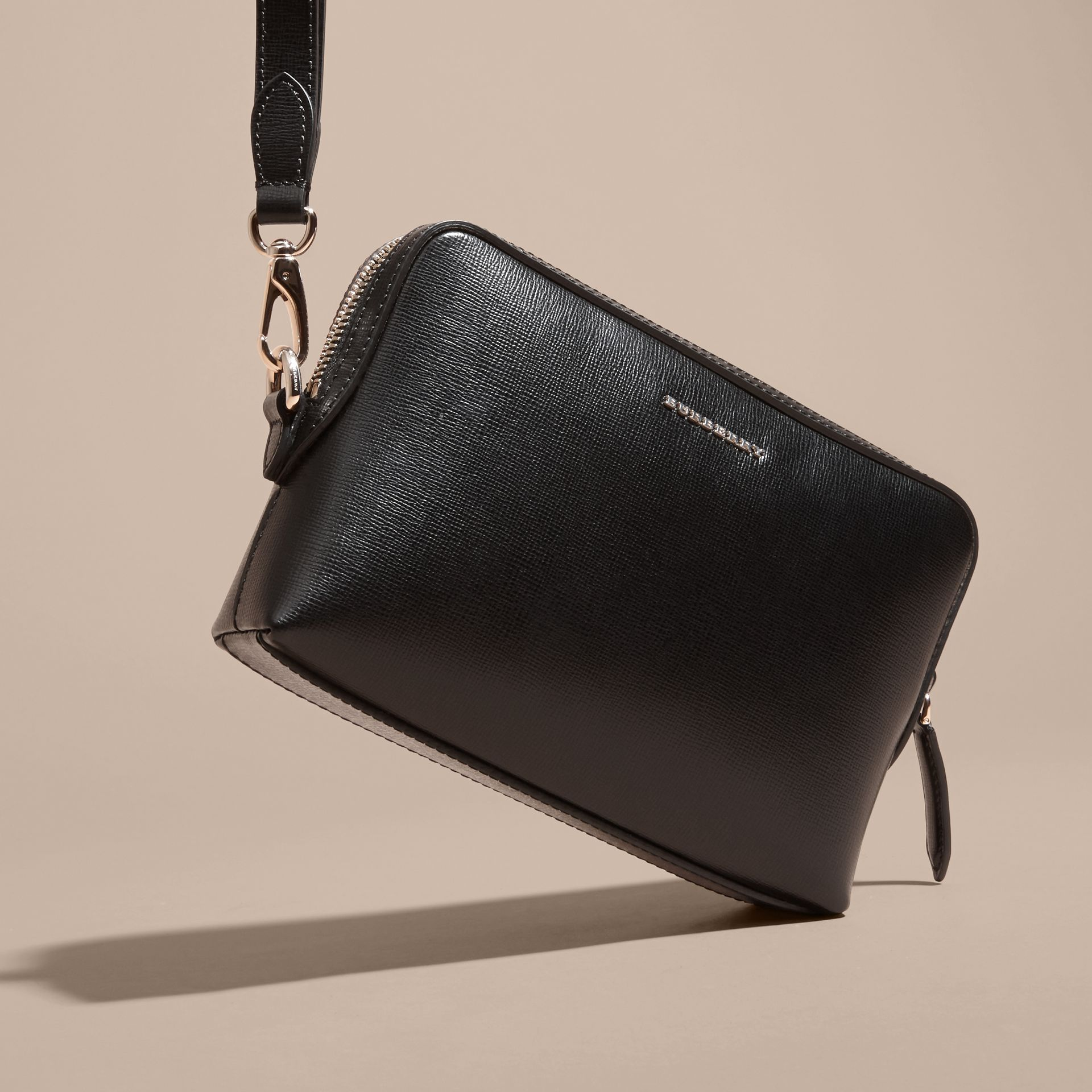 London Leather Pouch in Black - Men | Burberry - gallery image 3