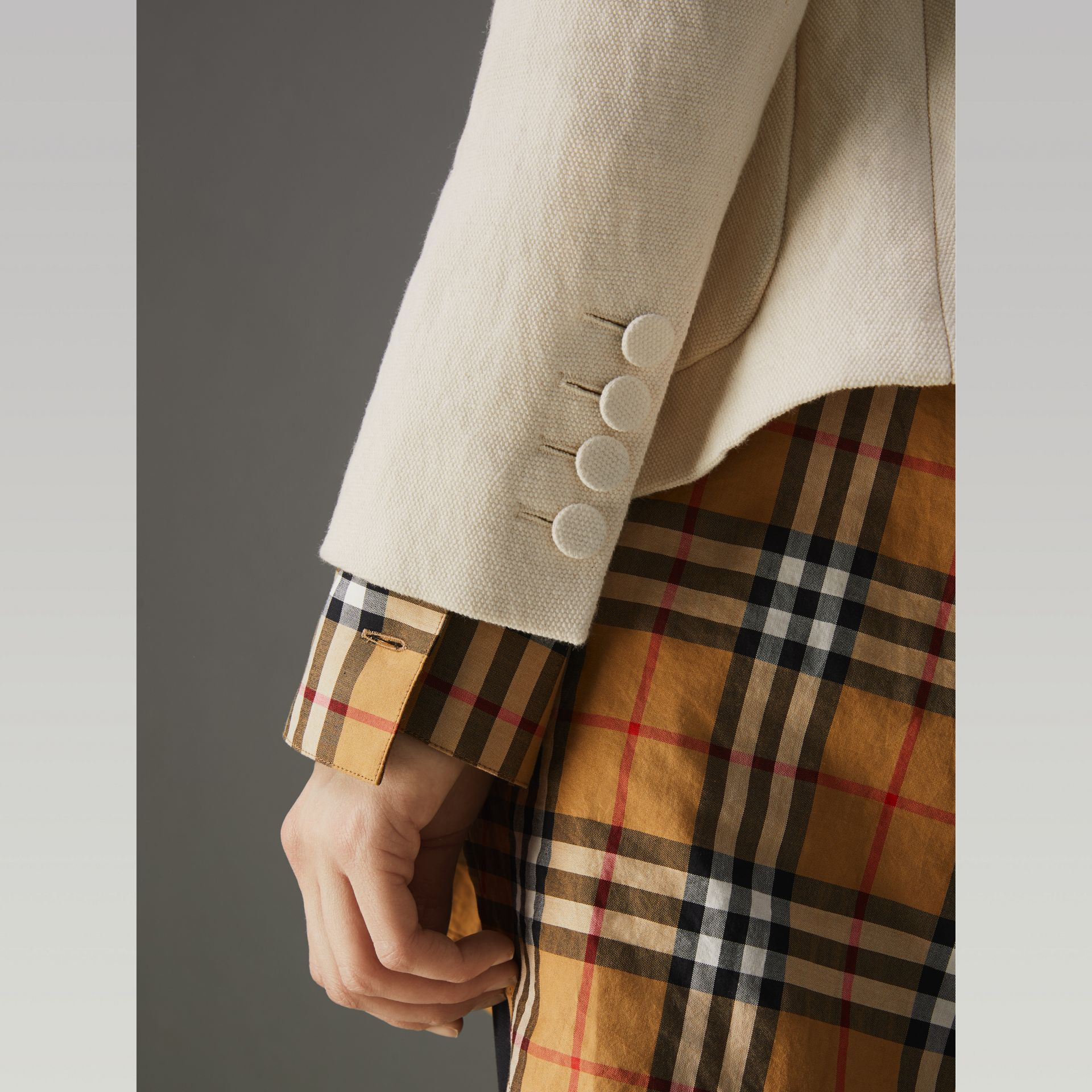 Cotton Linen Fitted Jacket in Off White - Women | Burberry - gallery image 4