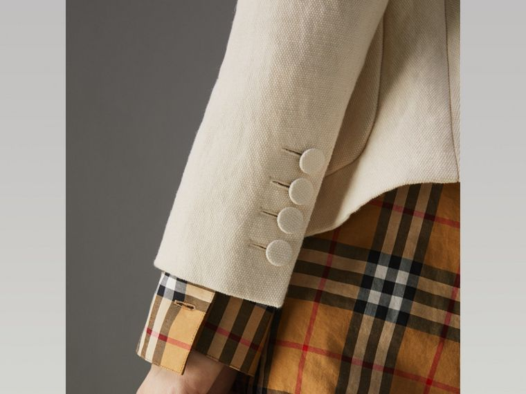 Cotton Linen Fitted Jacket in Off White - Women | Burberry - cell image 4