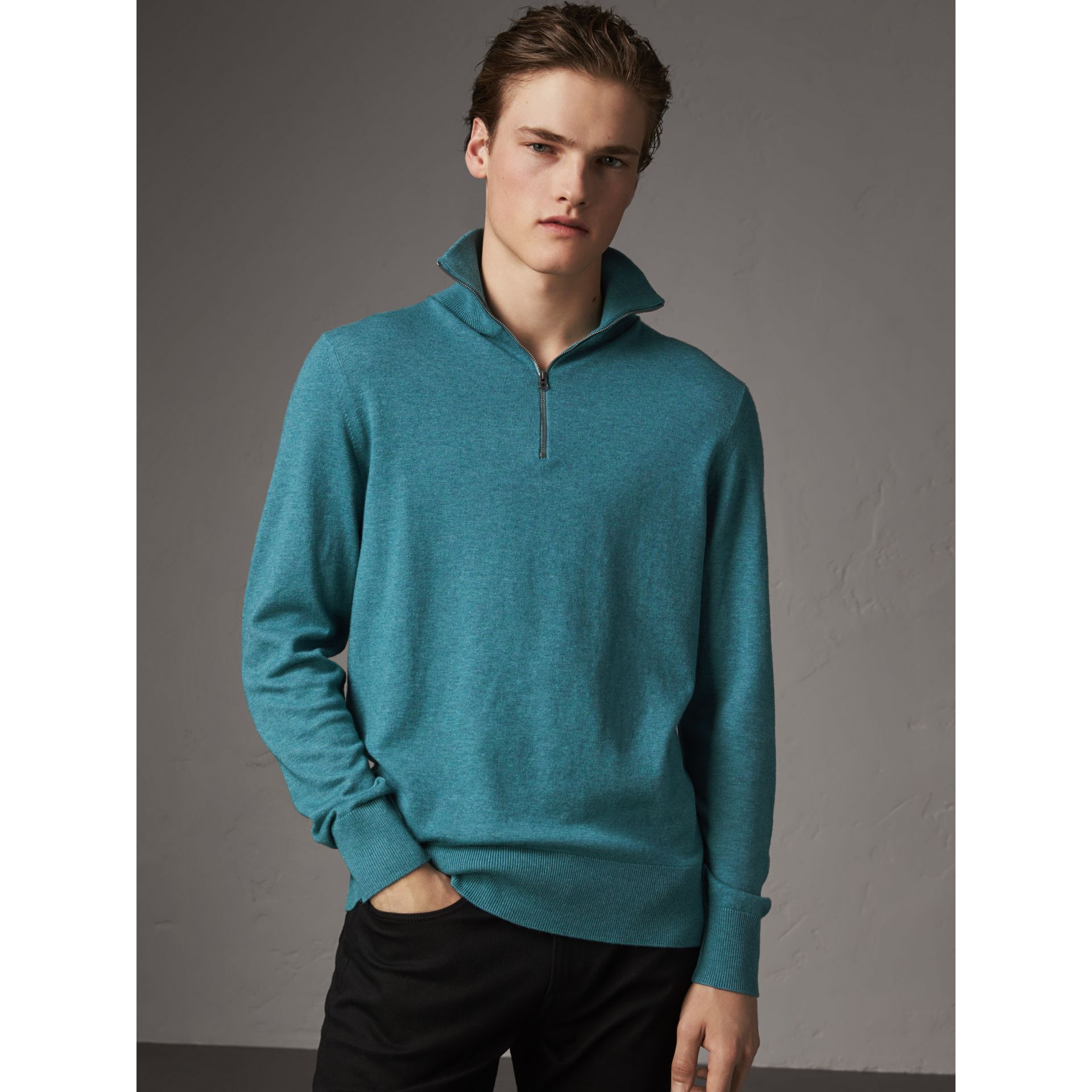 Zip-neck Cashmere Cotton Sweater in Grey Blue - Men | Burberry - gallery image 3