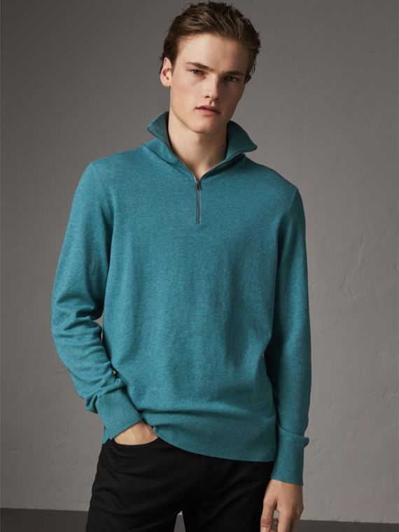 Zip-neck Cashmere Cotton Sweater in Grey Blue - Men | Burberry - cell image 2