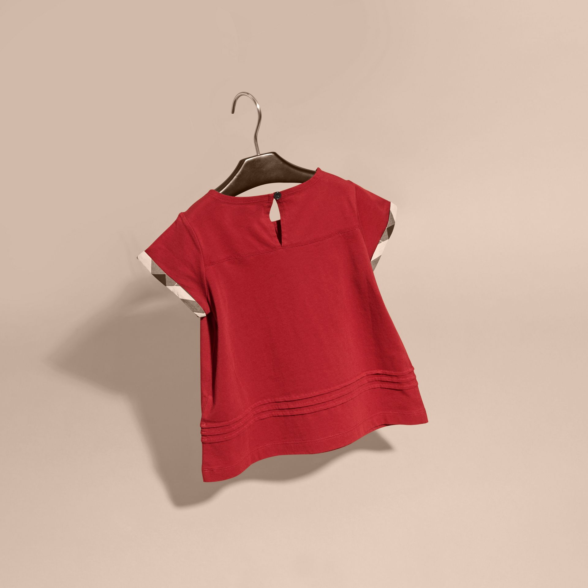 Pleat Detail Check Cotton T-Shirt in Parade Red - gallery image 4