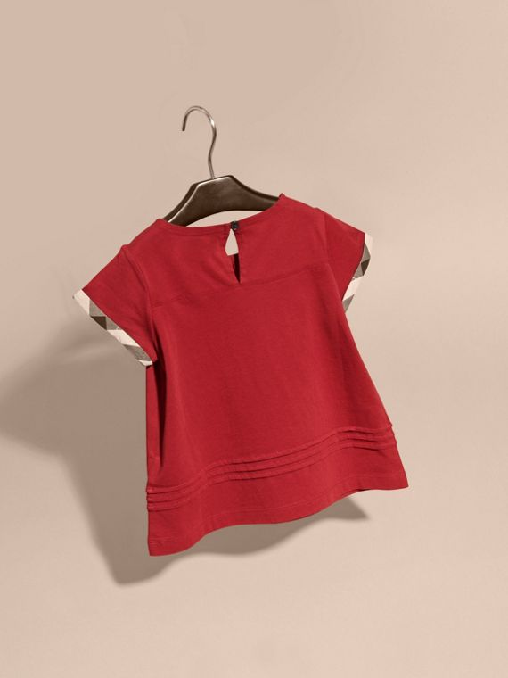 Parade red Pleat Detail Check Cotton T-Shirt Parade Red - cell image 3