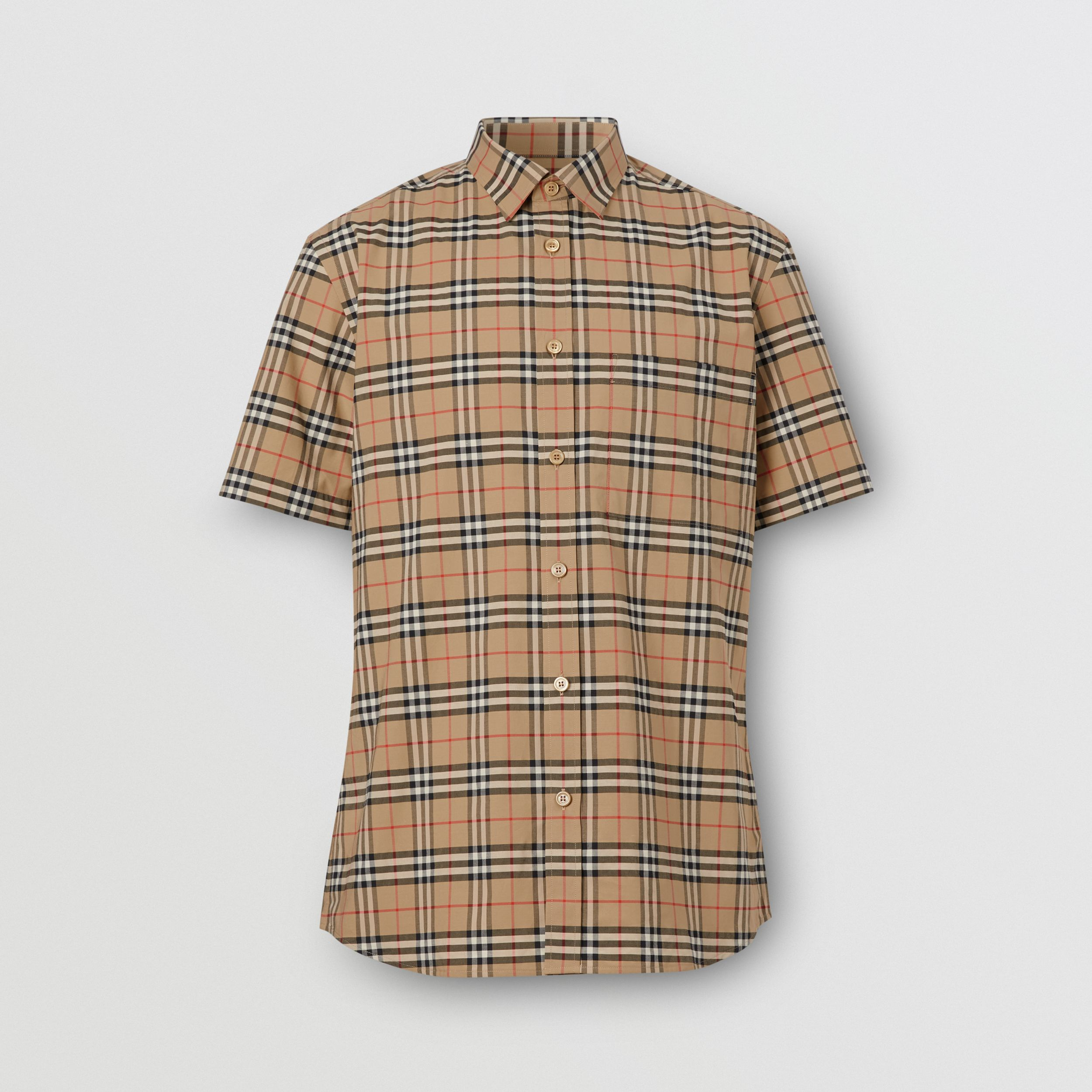 Short-sleeve Small Scale Check Stretch Cotton Shirt in Archive Beige - Men | Burberry - 4