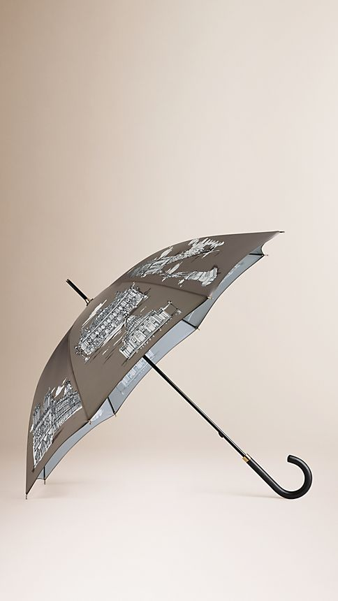 Taupe grey print Paris Landmarks Walking Umbrella - Image 1