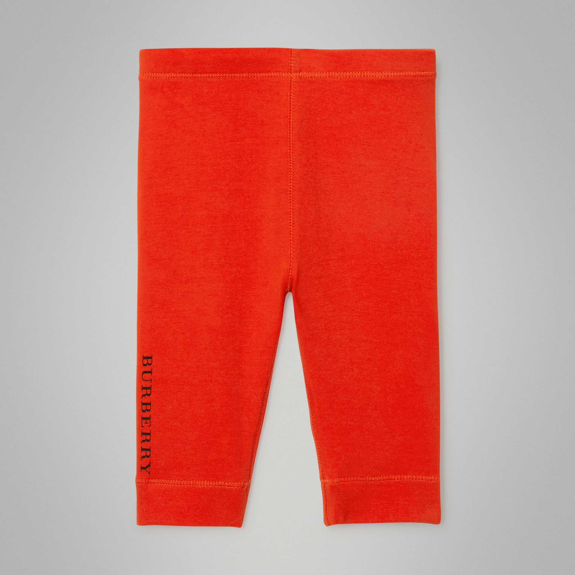 Logo Detail Stretch Cotton Leggings in Orange Red - Children | Burberry - gallery image 0