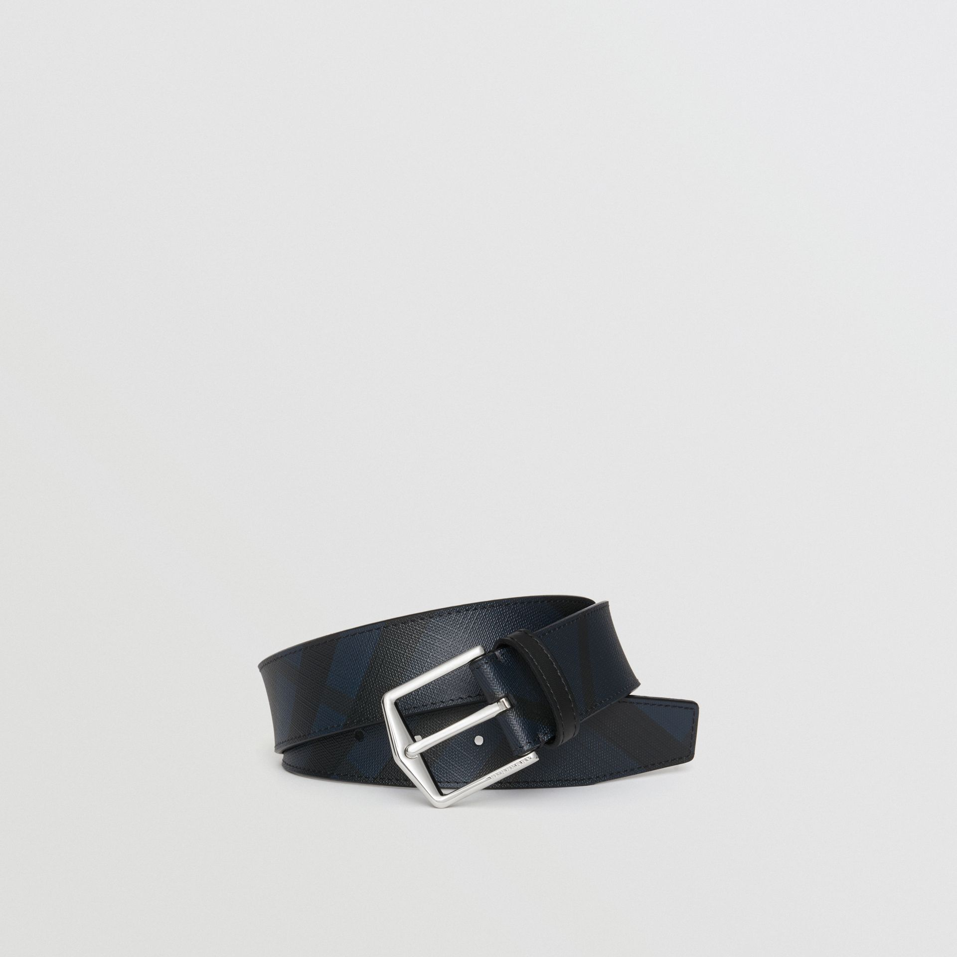 Leather Trim London Check Belt in Navy/black - Men | Burberry Hong Kong - gallery image 3