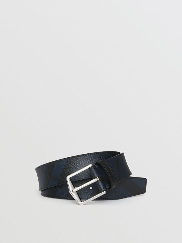 Leather Trim London Check Belt in Navy/black - Men | Burberry - cell image 3