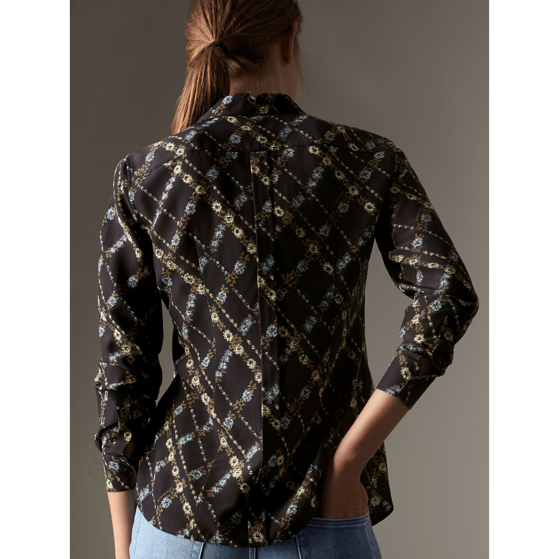 Lattice Floral Print Silk Shirt in Black - Women | Burberry Singapore - gallery image 3