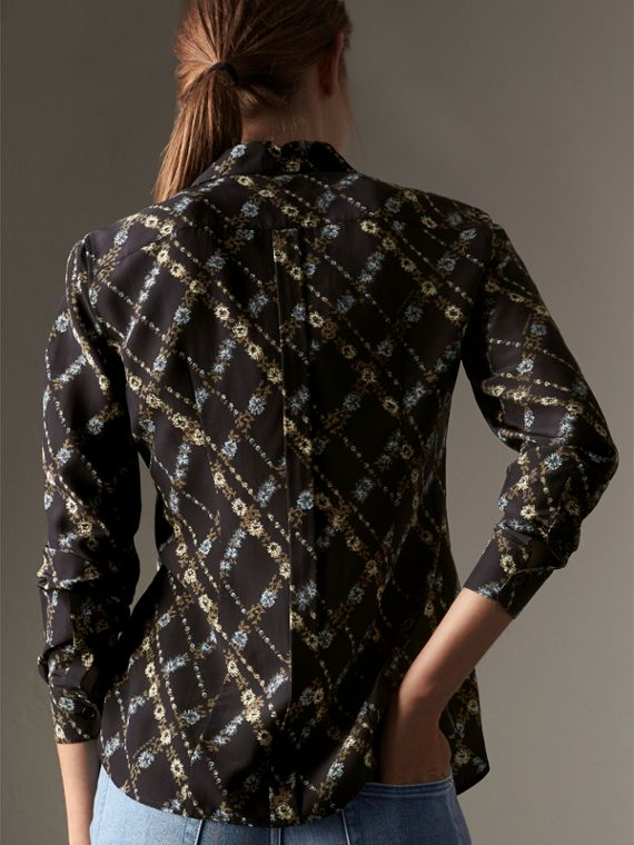 Lattice Floral Print Silk Shirt in Black - Women | Burberry - cell image 2