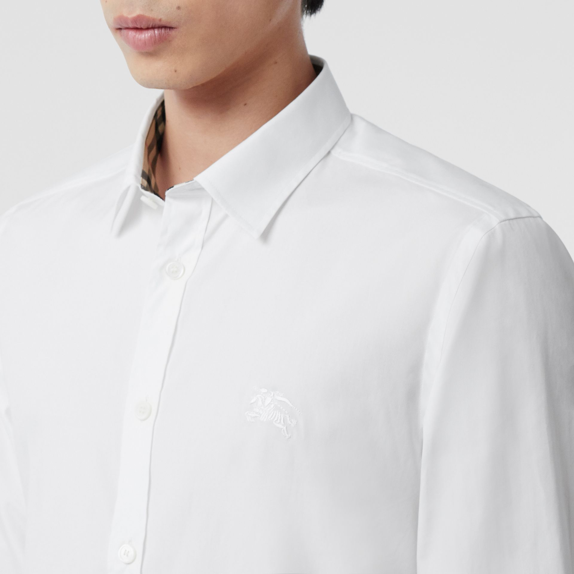 Embroidered EKD Stretch Cotton Poplin Shirt in White - Men | Burberry Hong Kong S.A.R - gallery image 1
