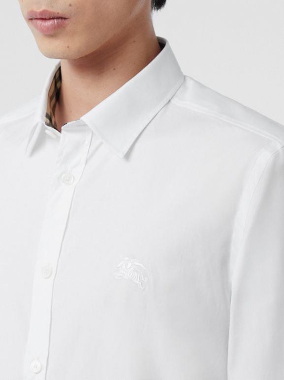 Embroidered EKD Stretch Cotton Poplin Shirt in White - Men | Burberry Hong Kong S.A.R - cell image 1