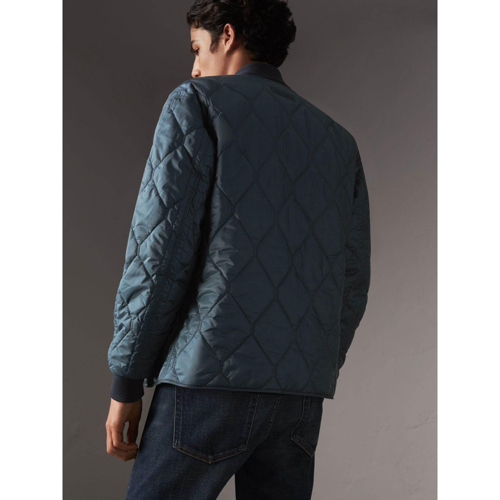 Quilted Bomber Jacket in Petrol Blue - Men | Burberry - gallery image 3