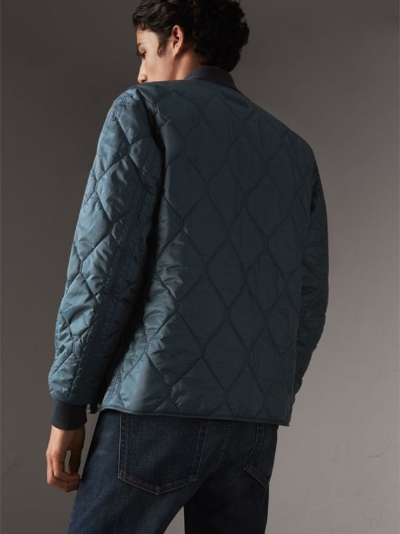 Quilted Bomber Jacket in Petrol Blue - Men | Burberry - cell image 2