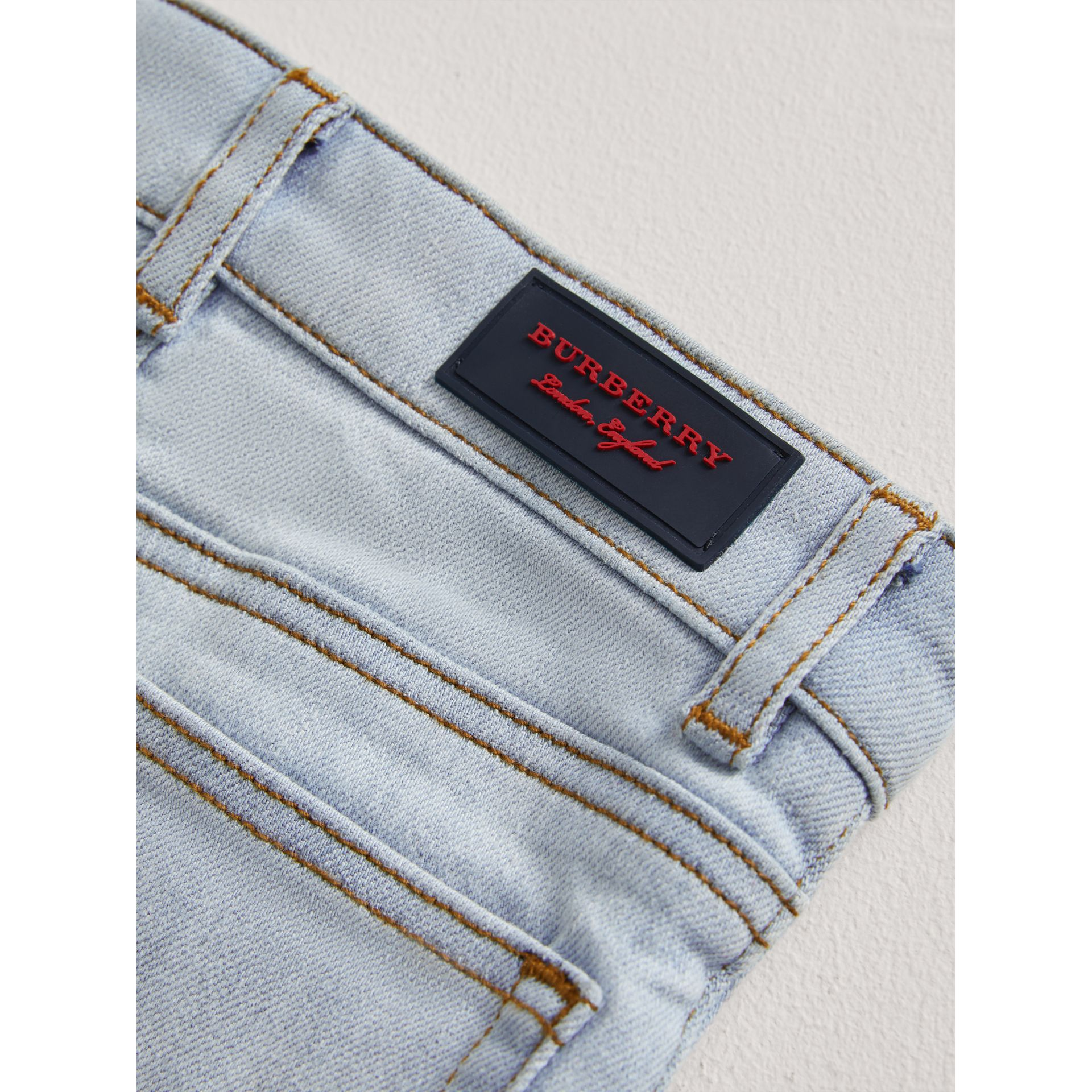 Skinny Fit Stretch Denim Jeans in Light Blue - Children | Burberry United Kingdom - gallery image 1