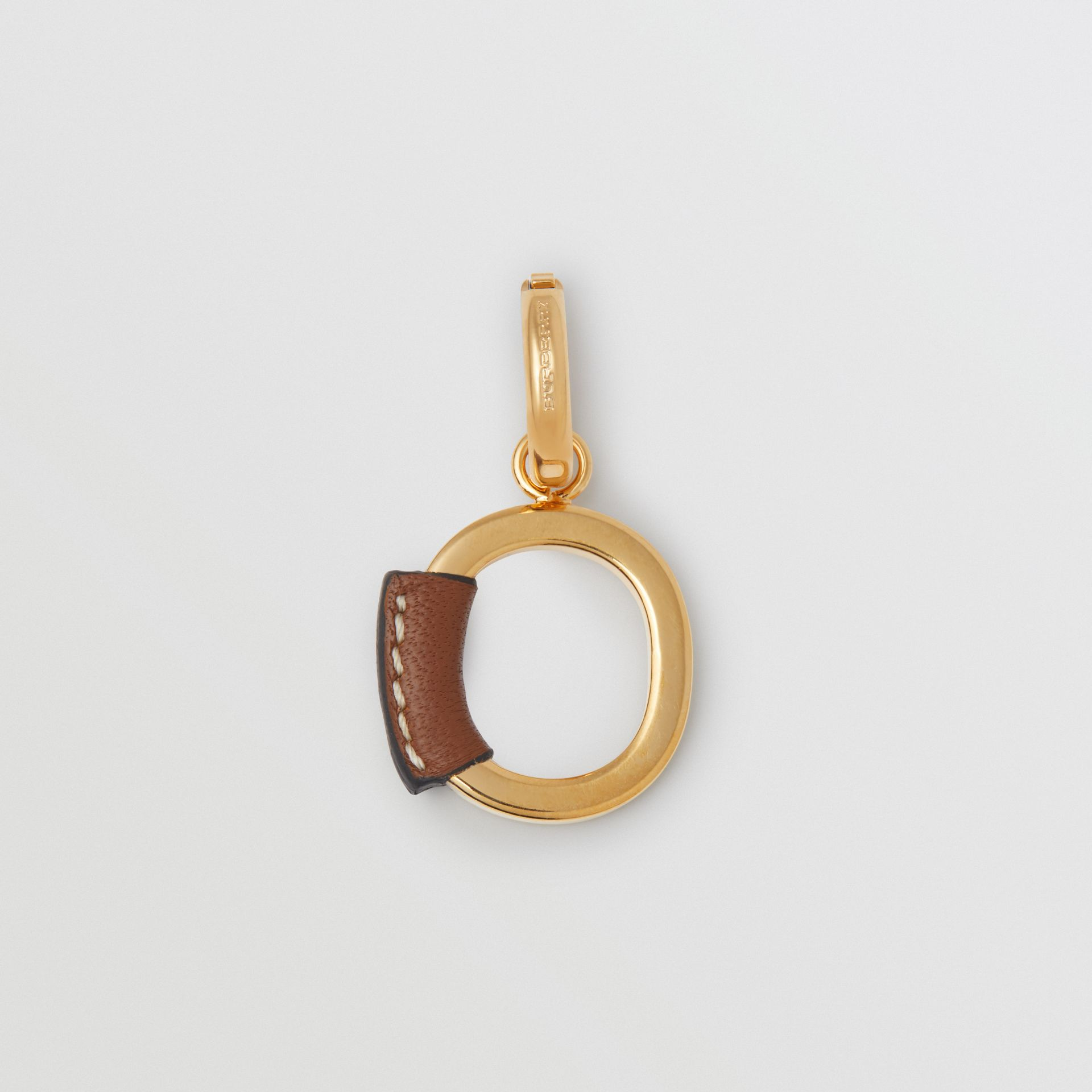 Leather-wrapped 'O' Alphabet Charm in Light Gold/tan - Women | Burberry Australia - gallery image 0